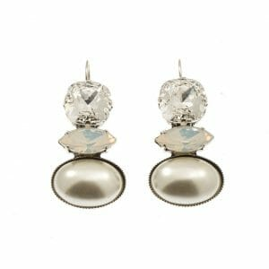 Hook Earrings with Swarovski crystals and pearl stone in silver tone