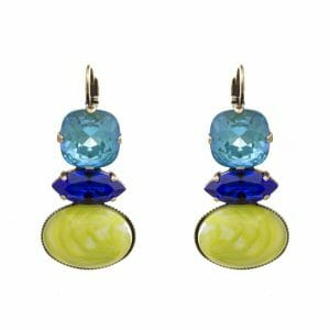 Hook Earrings with Swarovski crystals and colored glass stone