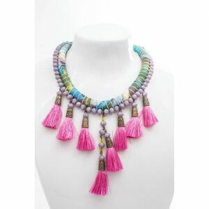 Necklace with fabric tassel and glass beads